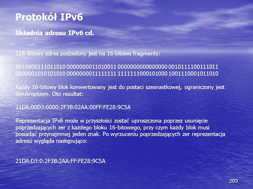 Protokół IPv6 Składnia adresu IPv6 cd.