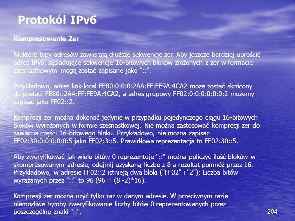 Protokół IPv6 Kompresowanie Zer