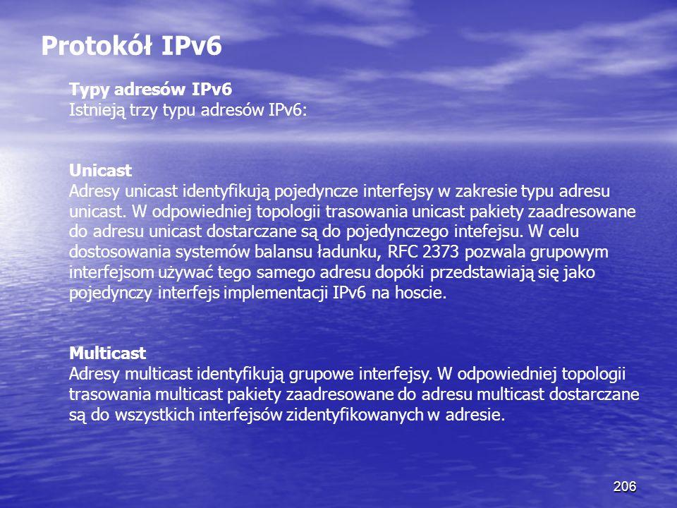 Protokół IPv6 Typy adresów IPv6 Istnieją trzy typu adresów IPv6: