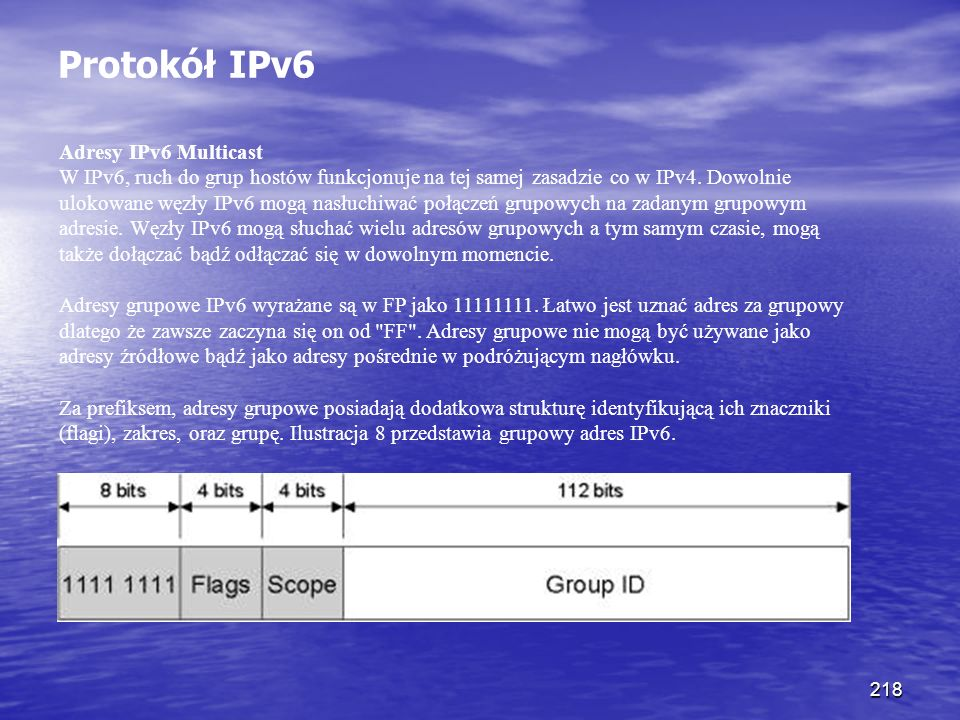 Protokół IPv6 Adresy IPv6 Multicast