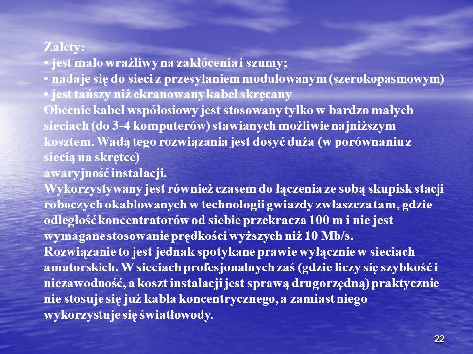 Zalety: • jest mało wrażliwy na zakłócenia i szumy; • nadaje się do sieci z przesyłaniem modulowanym (szerokopasmowym)