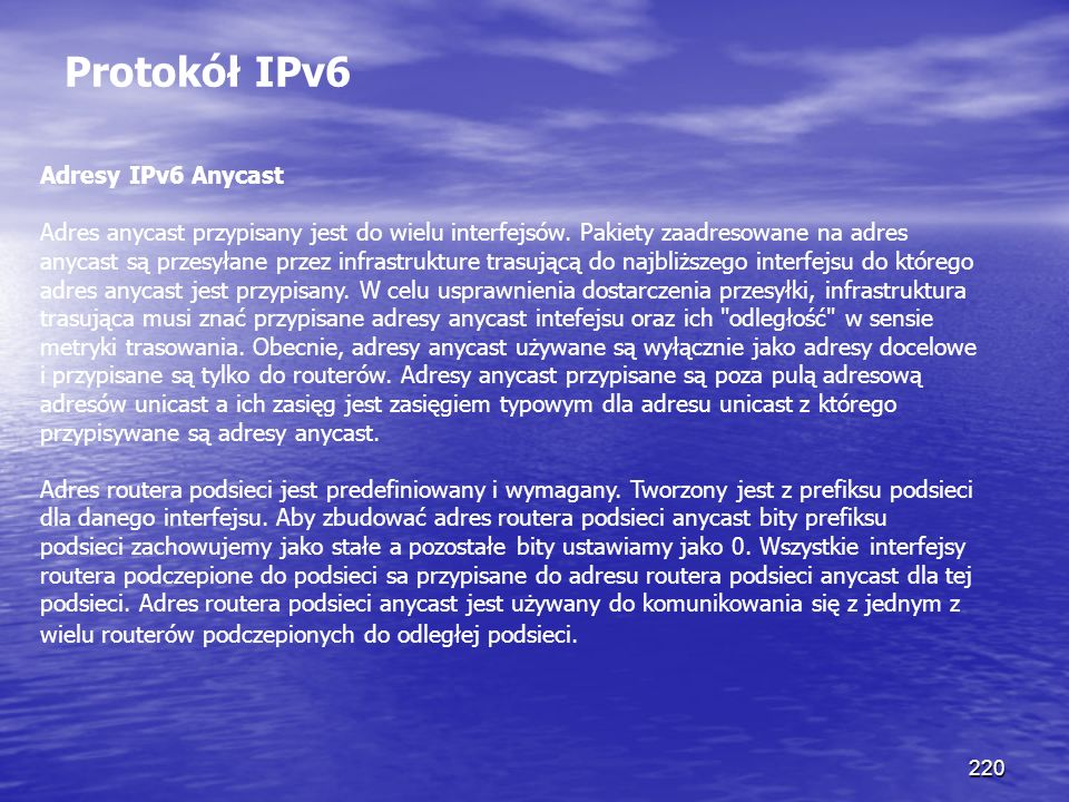 Protokół IPv6 Adresy IPv6 Anycast