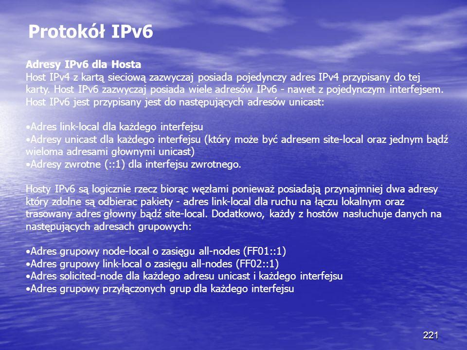 Protokół IPv6 Adresy IPv6 dla Hosta