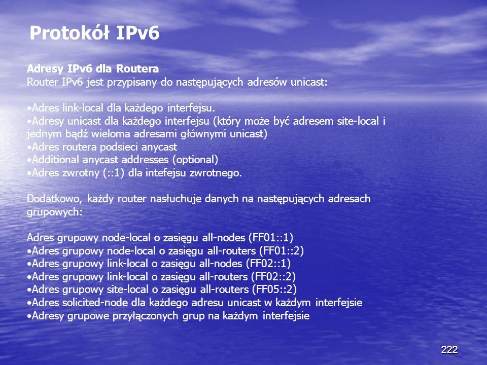 Protokół IPv6 Adresy IPv6 dla Routera