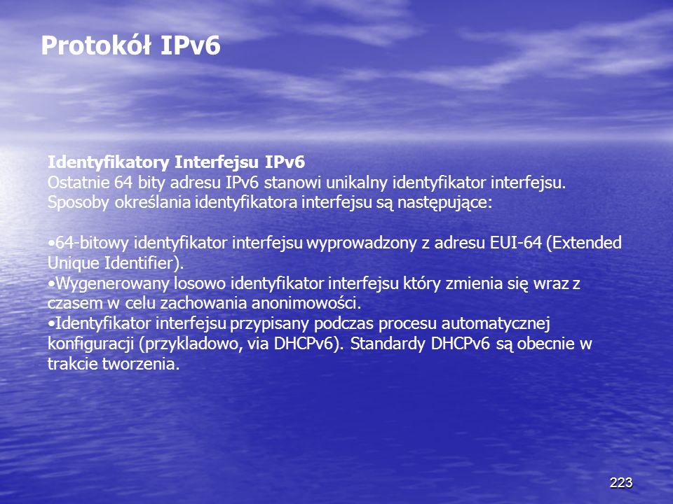 Protokół IPv6 Identyfikatory Interfejsu IPv6