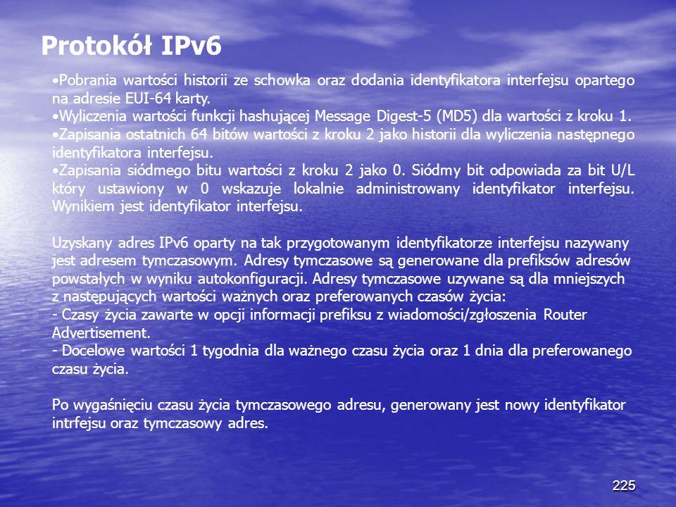Protokół IPv6 Pobrania wartości historii ze schowka oraz dodania identyfikatora interfejsu opartego na adresie EUI-64 karty.