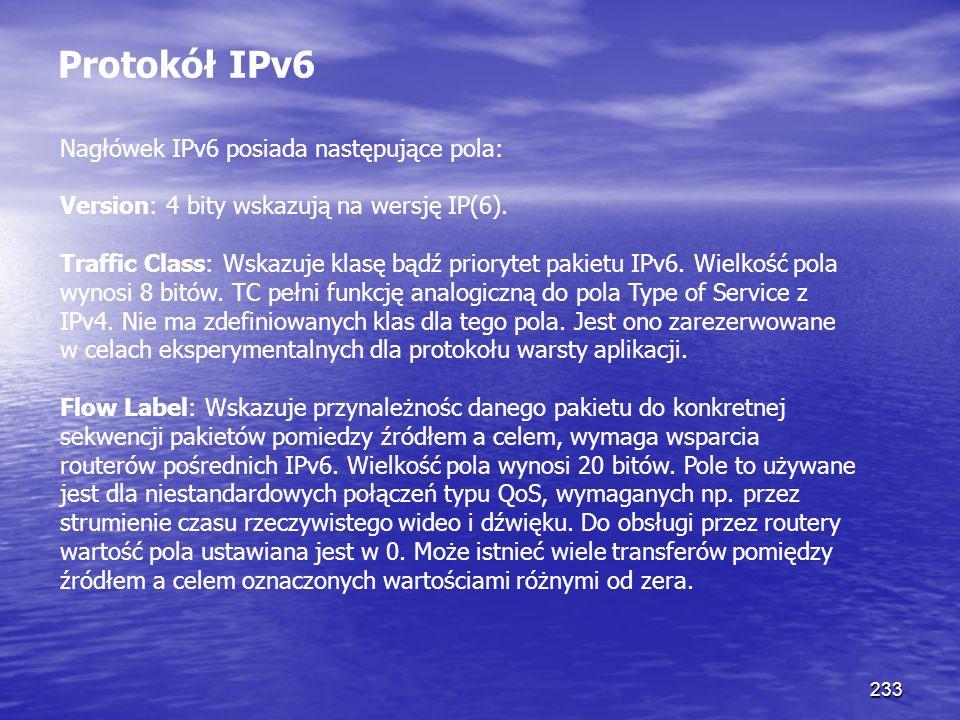 Protokół IPv6 Nagłówek IPv6 posiada następujące pola: