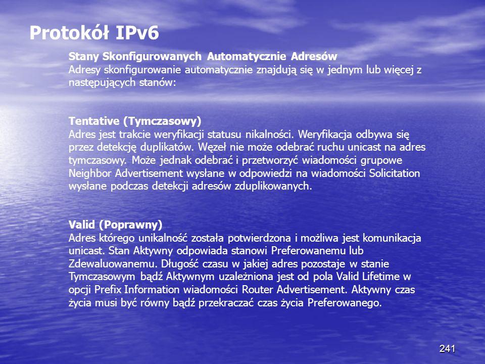 Protokół IPv6 Stany Skonfigurowanych Automatycznie Adresów