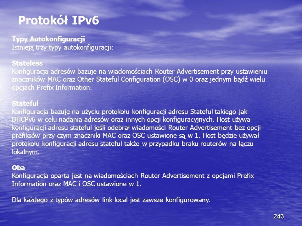 Protokół IPv6 Typy Autokonfiguracji