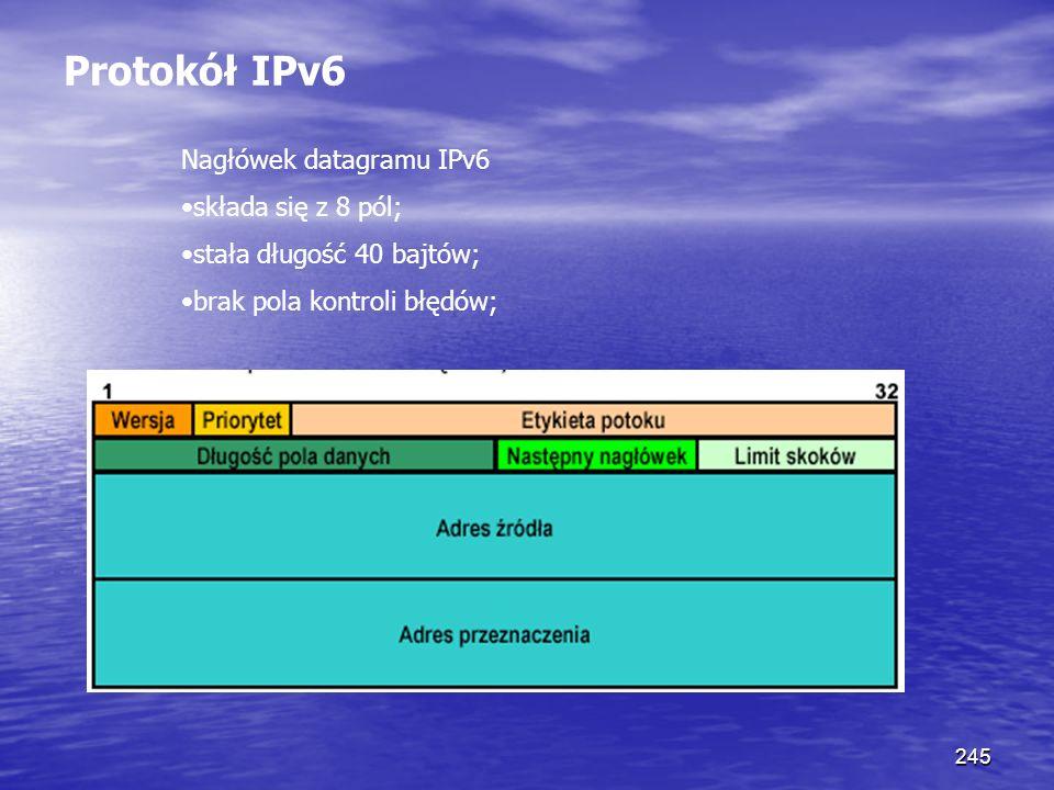 Protokół IPv6 Nagłówek datagramu IPv6 •składa się z 8 pól;