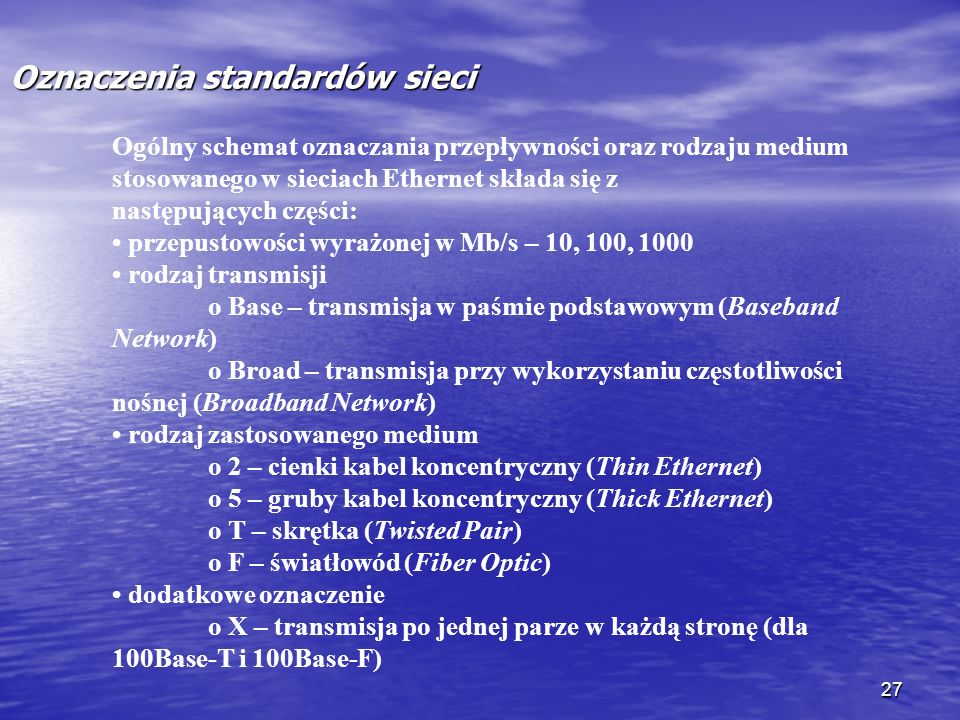 Oznaczenia standardów sieci