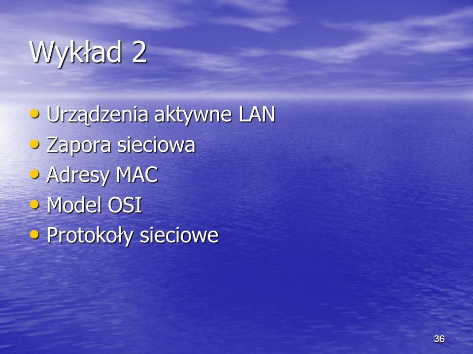 Wykład 2 Urządzenia aktywne LAN Zapora sieciowa Adresy MAC Model OSI