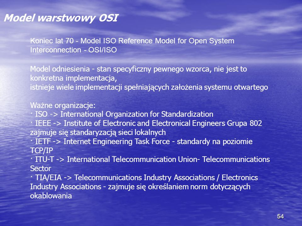 Model warstwowy OSI Koniec lat 70 - Model ISO Reference Model for Open System Interconnection - OSI/ISO.