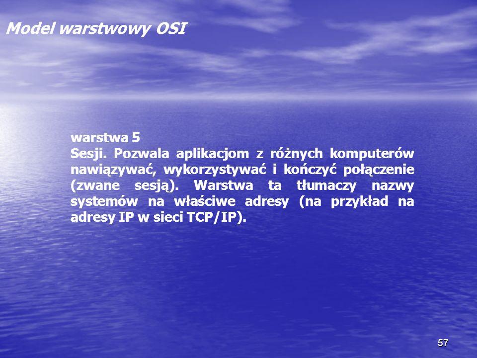 Model warstwowy OSI warstwa 5