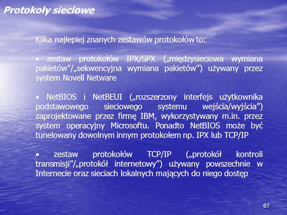 Protokoły sieciowe Kilka najlepiej znanych zestawów protokołów to: