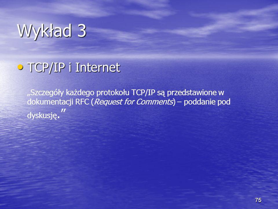 Wykład 3 TCP/IP i Internet