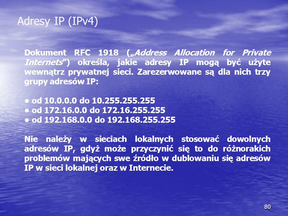 Adresy IP (IPv4)