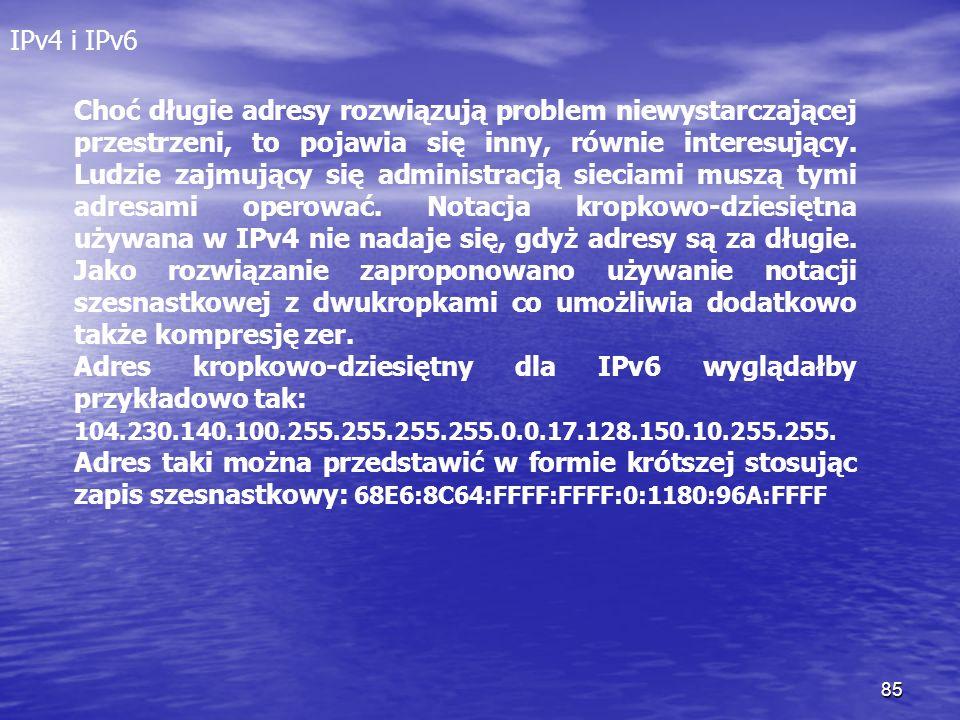 Adres kropkowo-dziesiętny dla IPv6 wyglądałby przykładowo tak: