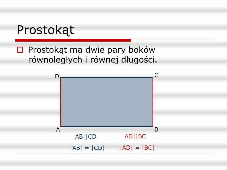 Prostokąt Prostokąt ma dwie pary boków równoległych i równej długości.