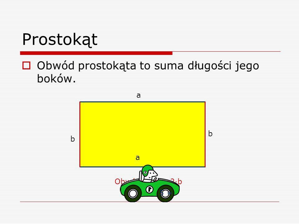 Prostokąt Obwód prostokąta to suma długości jego boków. a b b a