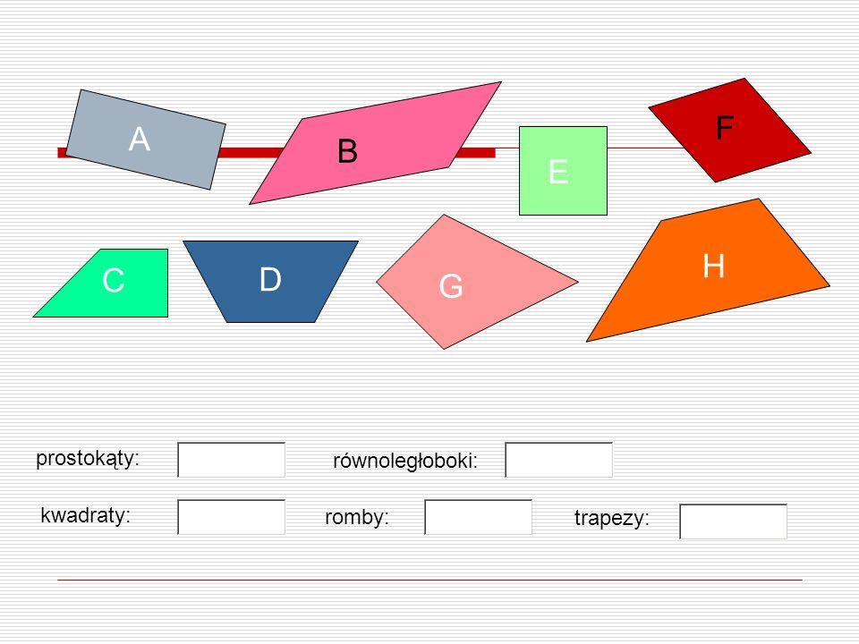 F A B E H C D G prostokąty: równoległoboki: kwadraty: romby: trapezy: