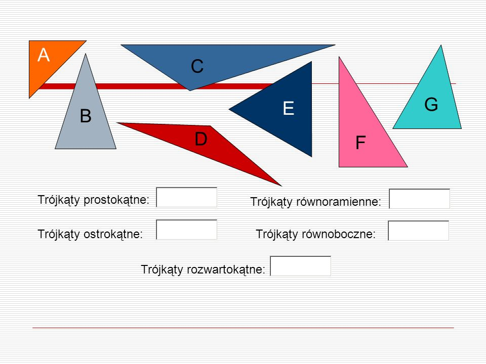 A C G E B D F Trójkąty prostokątne: Trójkąty równoramienne: