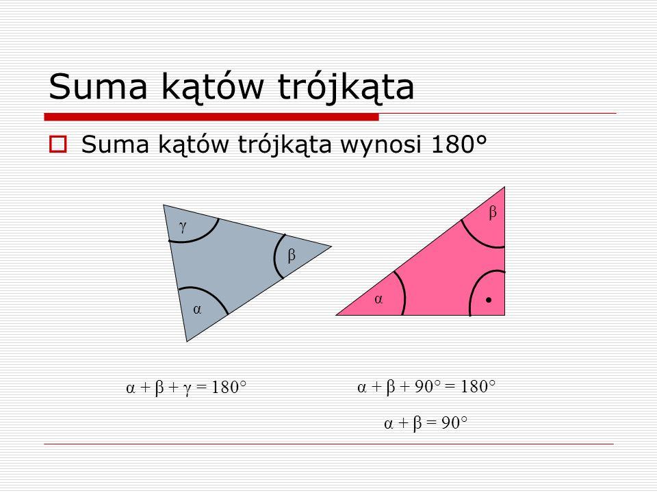 Suma kątów trójkąta Suma kątów trójkąta wynosi 180° α + β + γ = 180°