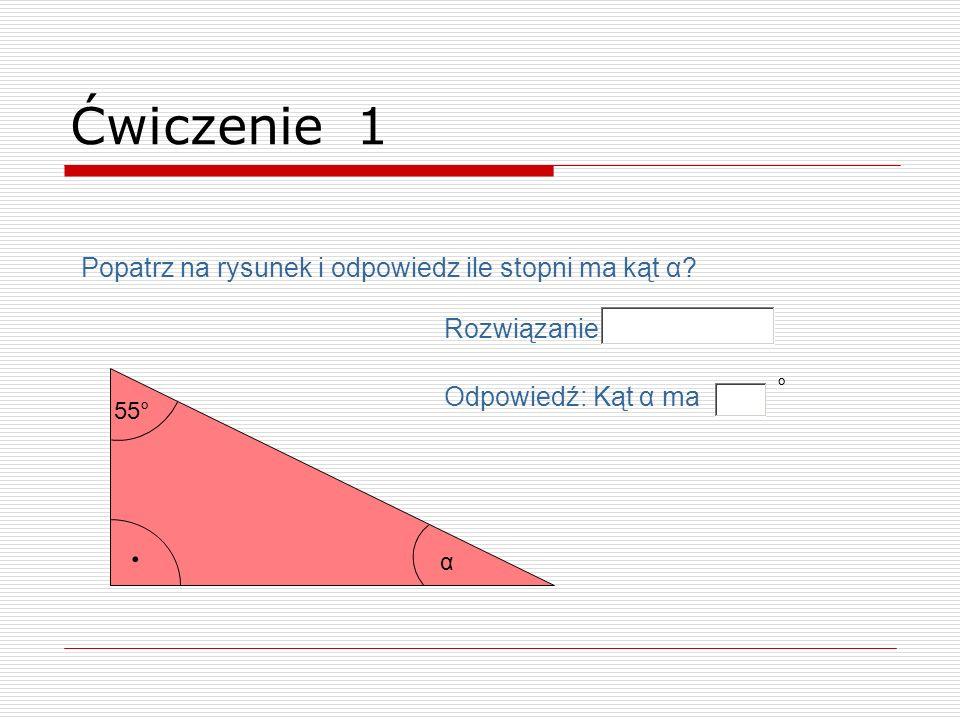 . Ćwiczenie 1 Popatrz na rysunek i odpowiedz ile stopni ma kąt α