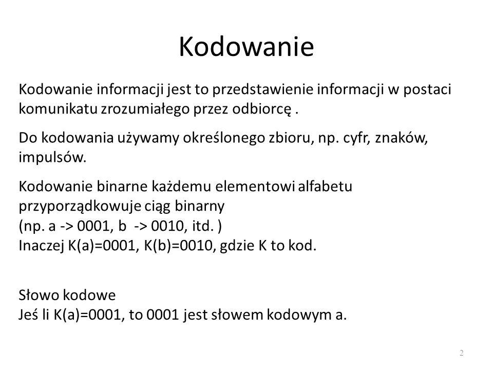 Kodowanie Kodowanie informacji jest to przedstawienie informacji w postaci komunikatu zrozumiałego przez odbiorcę .