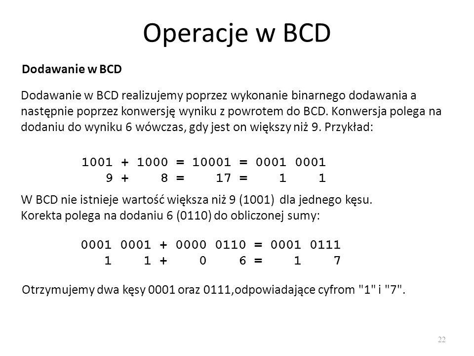 Operacje w BCD Dodawanie w BCD