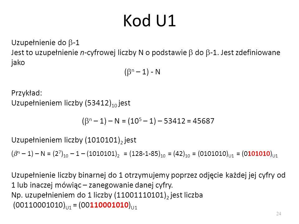 Kod U1 Uzupełnienie do -1