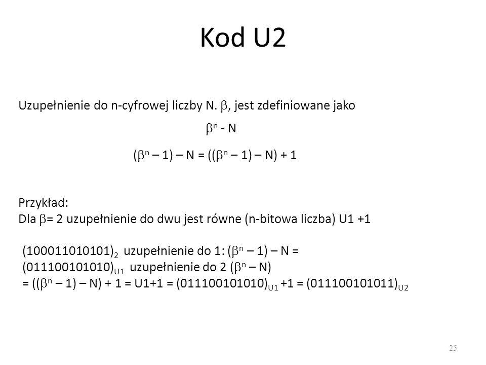Kod U2 Uzupełnienie do n-cyfrowej liczby N. , jest zdefiniowane jako