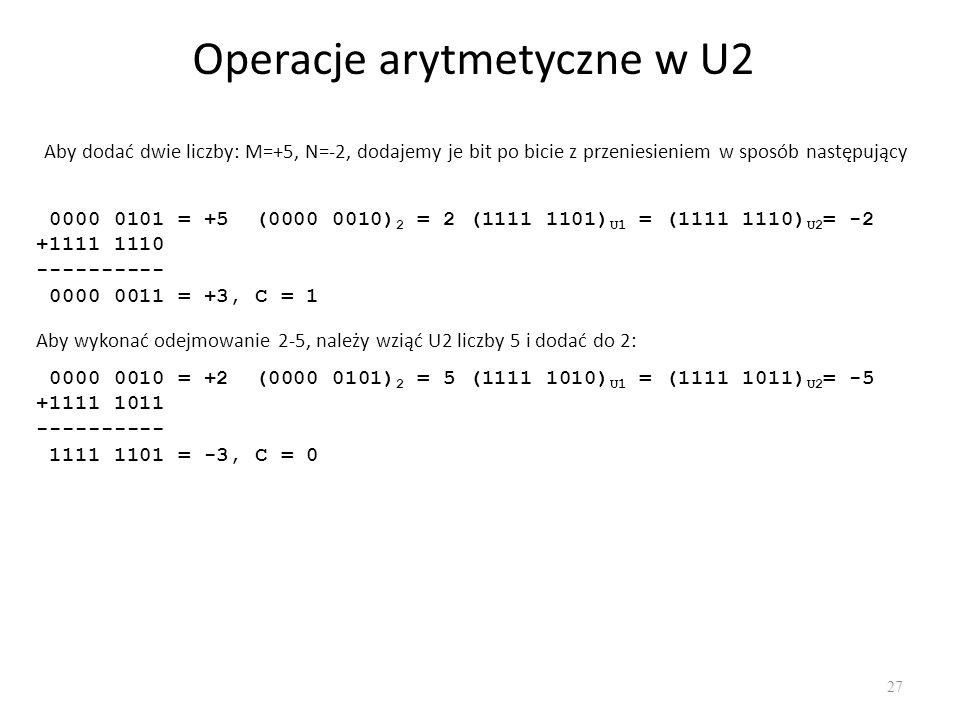 Operacje arytmetyczne w U2