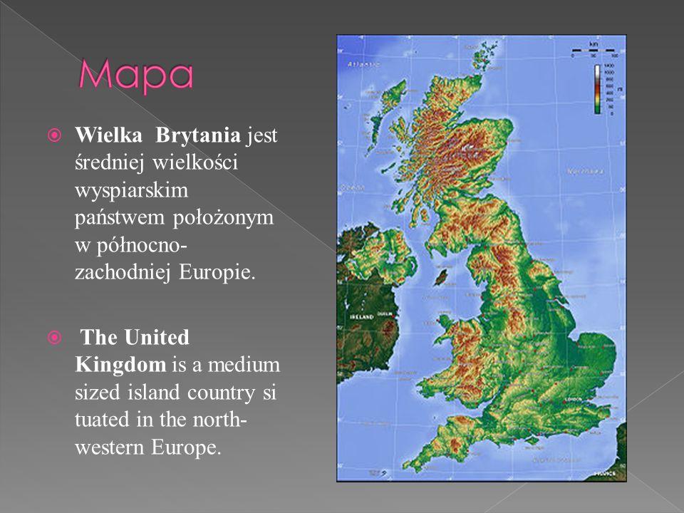 Mapa Map Wielka Brytania jest średniej wielkości wyspiarskim państwem położonym w północno-zachodniej Europie.