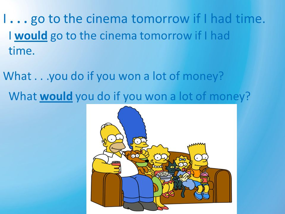 I . . . go to the cinema tomorrow if I had time.