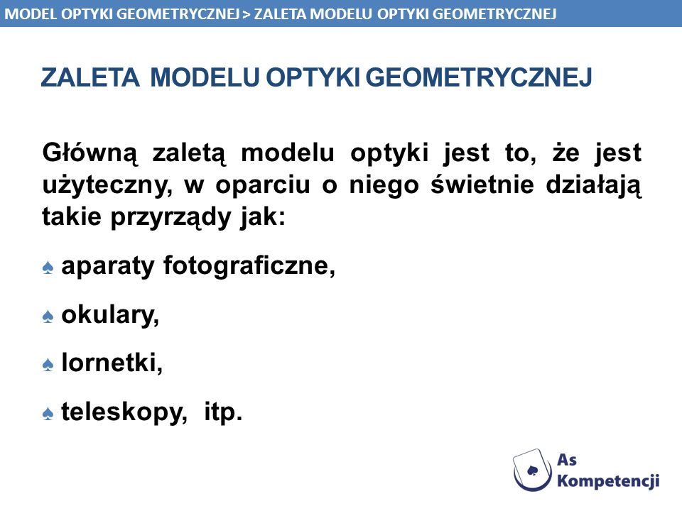 zaleta modelu optyki geometrycznej