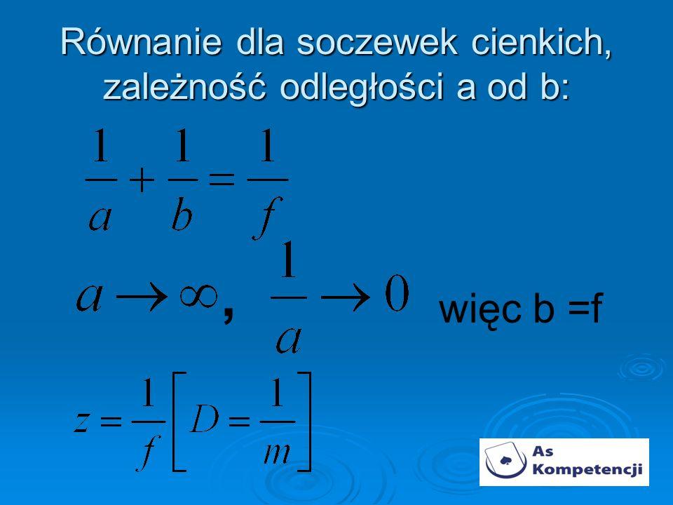 Równanie dla soczewek cienkich, zależność odległości a od b: