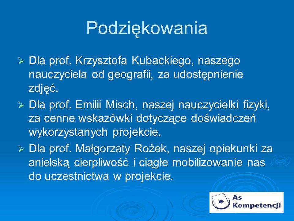 Podziękowania Dla prof. Krzysztofa Kubackiego, naszego nauczyciela od geografii, za udostępnienie zdjęć.