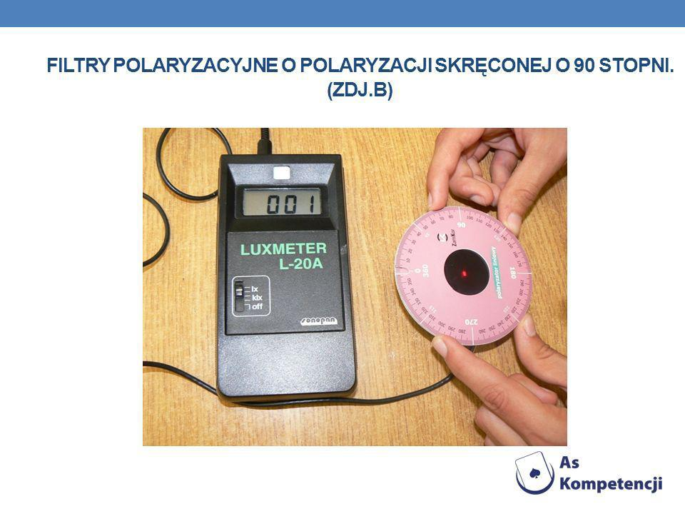 Filtry polaryzacyjne o polaryzacji skręconej o 90 stopni. (Zdj.b)