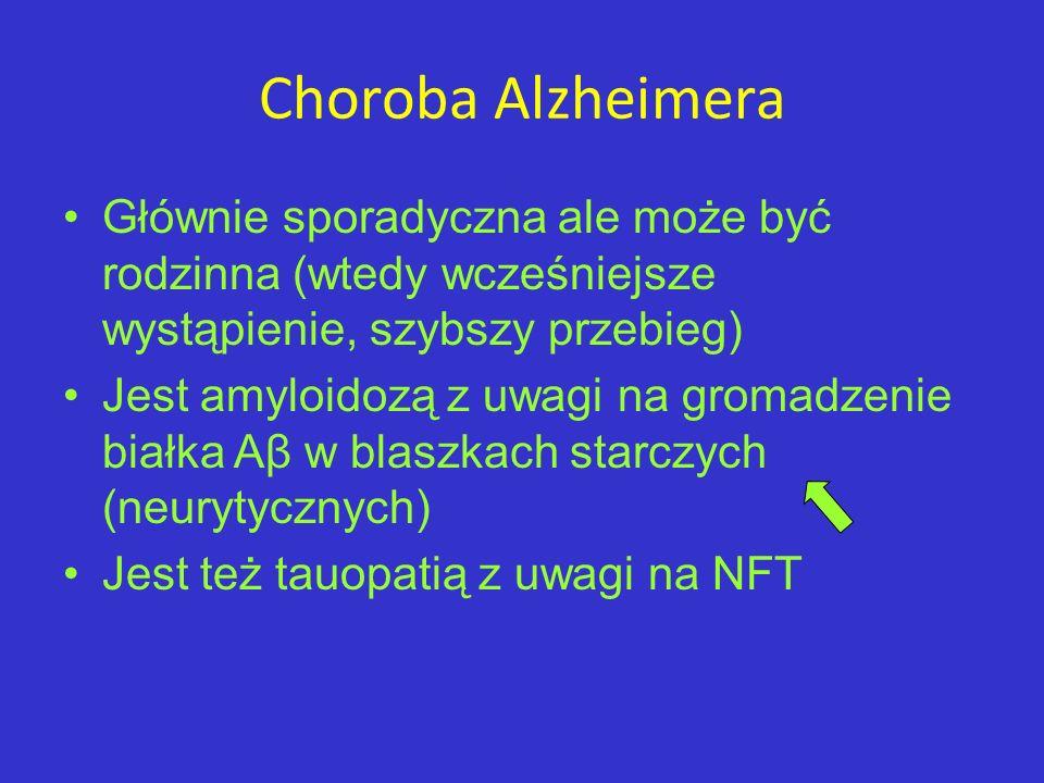 Choroba Alzheimera Głównie sporadyczna ale może być rodzinna (wtedy wcześniejsze wystąpienie, szybszy przebieg)