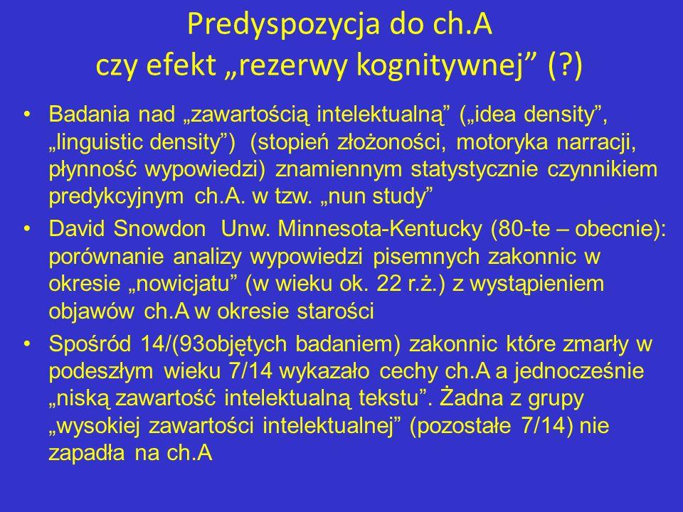 """Predyspozycja do ch.A czy efekt """"rezerwy kognitywnej ( )"""
