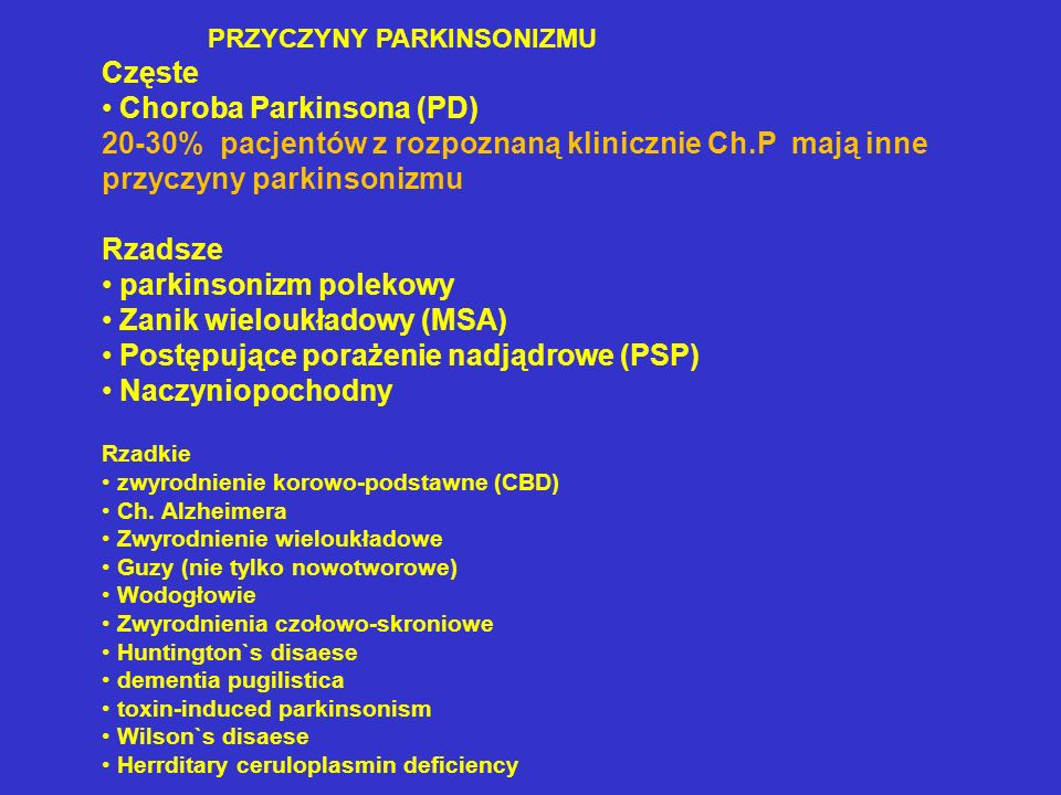 Choroba Parkinsona (PD)