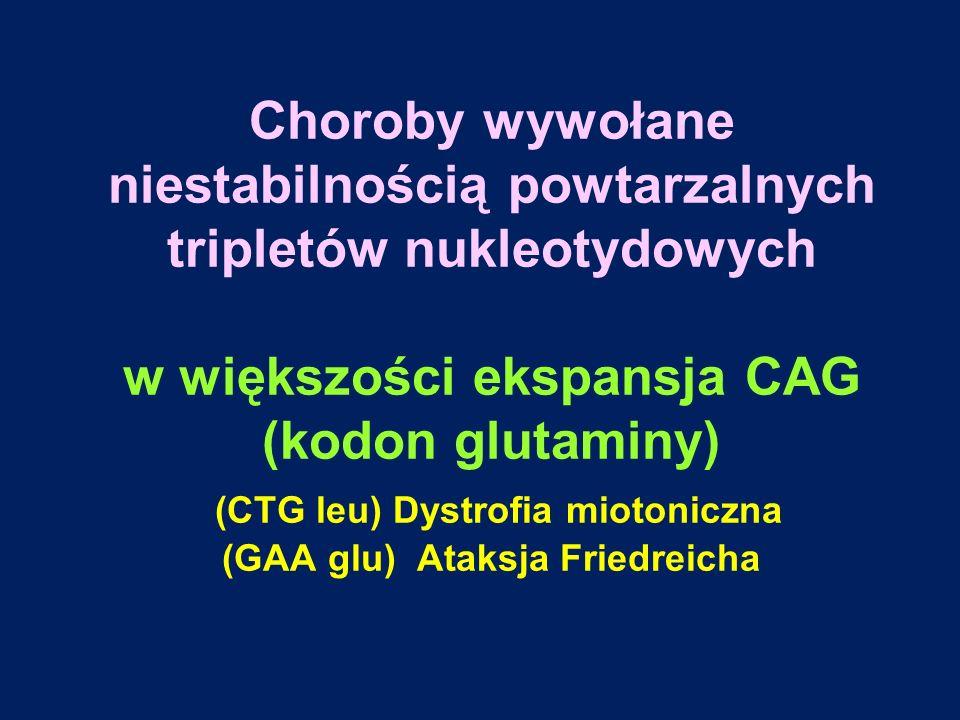 Choroby wywołane niestabilnością powtarzalnych tripletów nukleotydowych w większości ekspansja CAG (kodon glutaminy) (CTG leu) Dystrofia miotoniczna (GAA glu) Ataksja Friedreicha