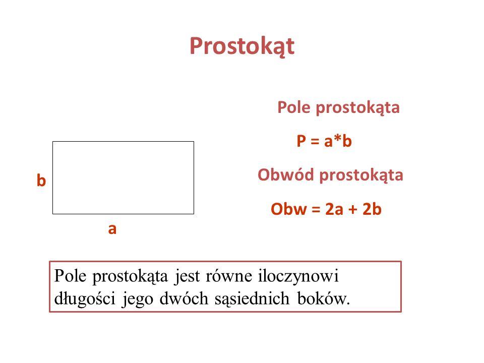 Prostokąt Pole prostokąta P = a*b Obwód prostokąta Obw = 2a + 2b b a