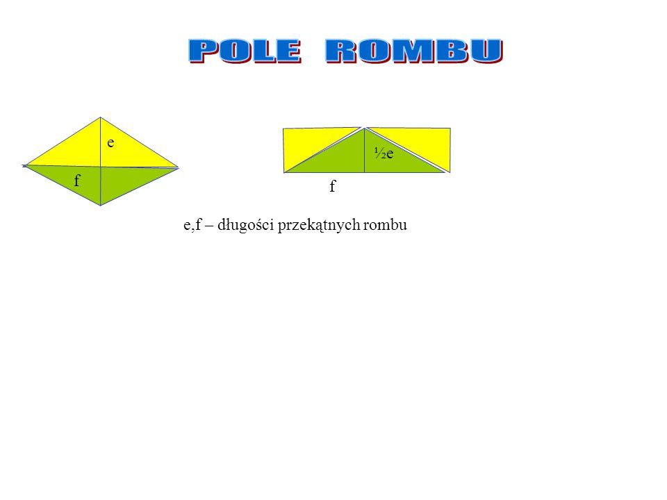 POLE ROMBU e ½e f f e,f – długości przekątnych rombu