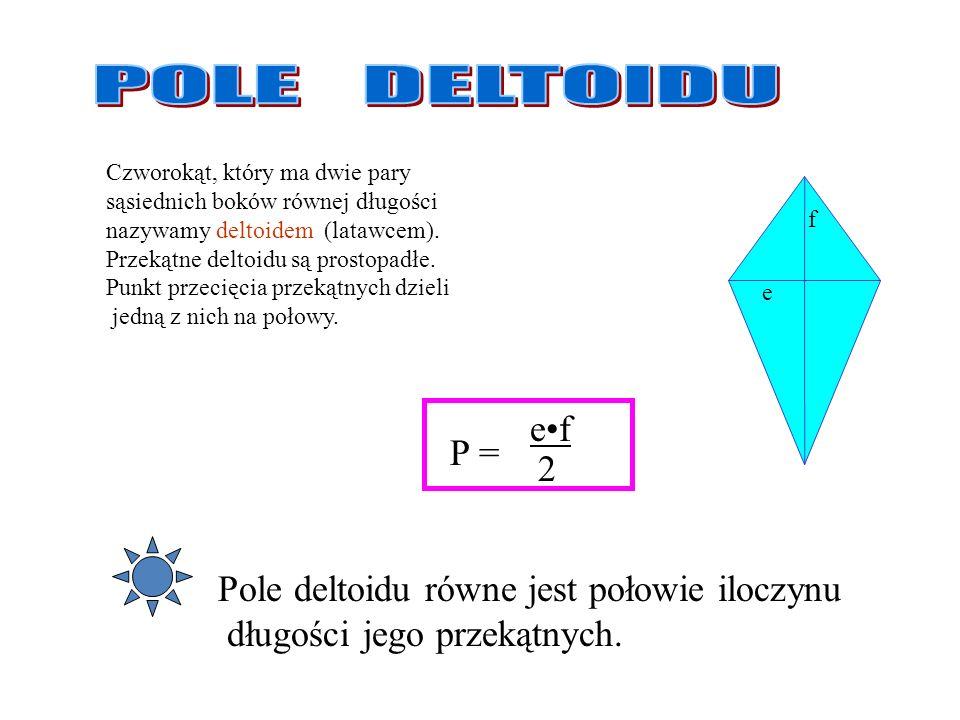 POLE DELTOIDU e•f P = 2 Pole deltoidu równe jest połowie iloczynu
