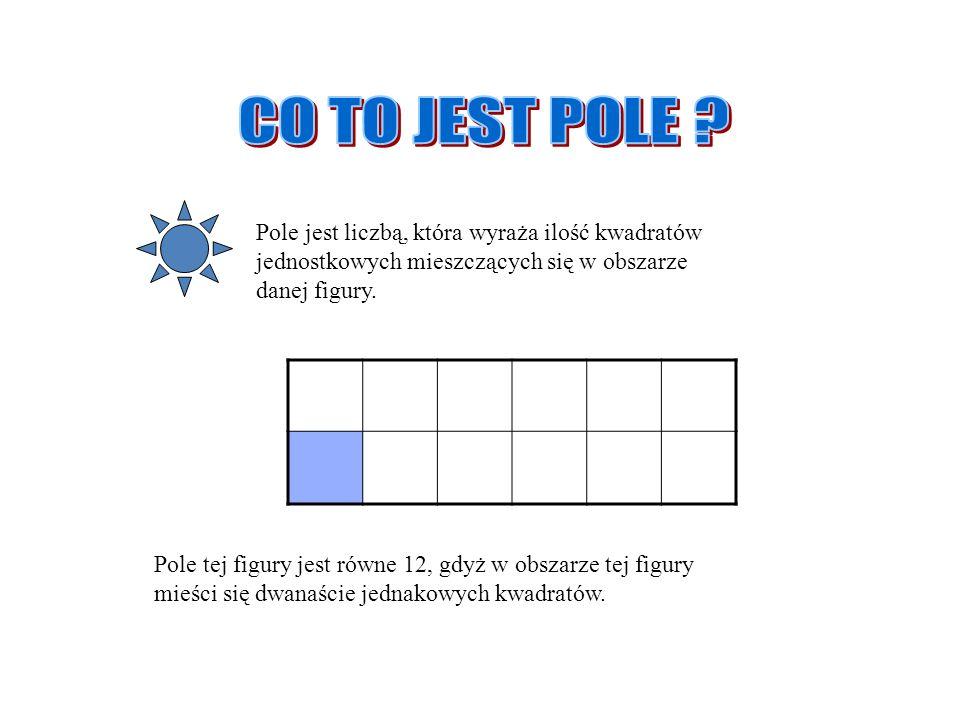 CO TO JEST POLE Pole jest liczbą, która wyraża ilość kwadratów