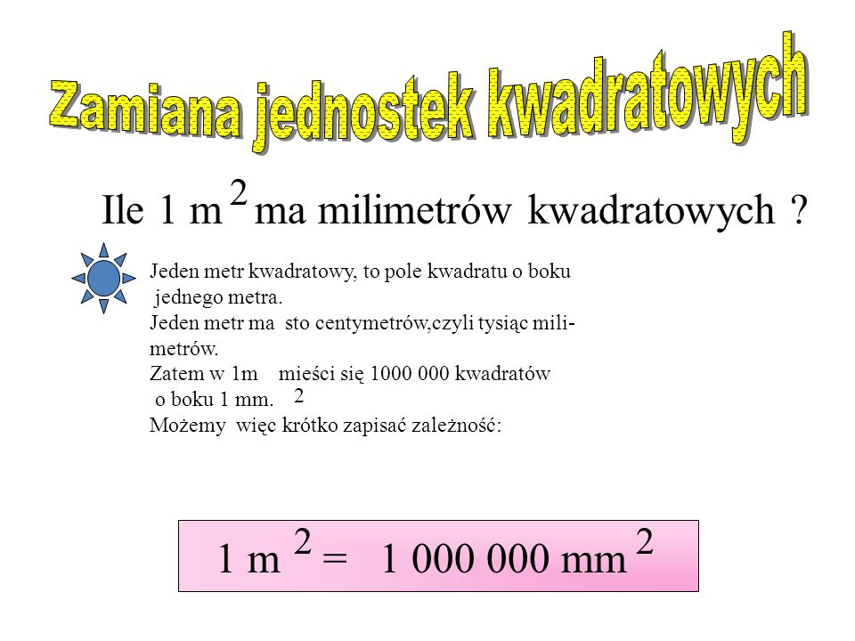 Zamiana jednostek kwadratowych
