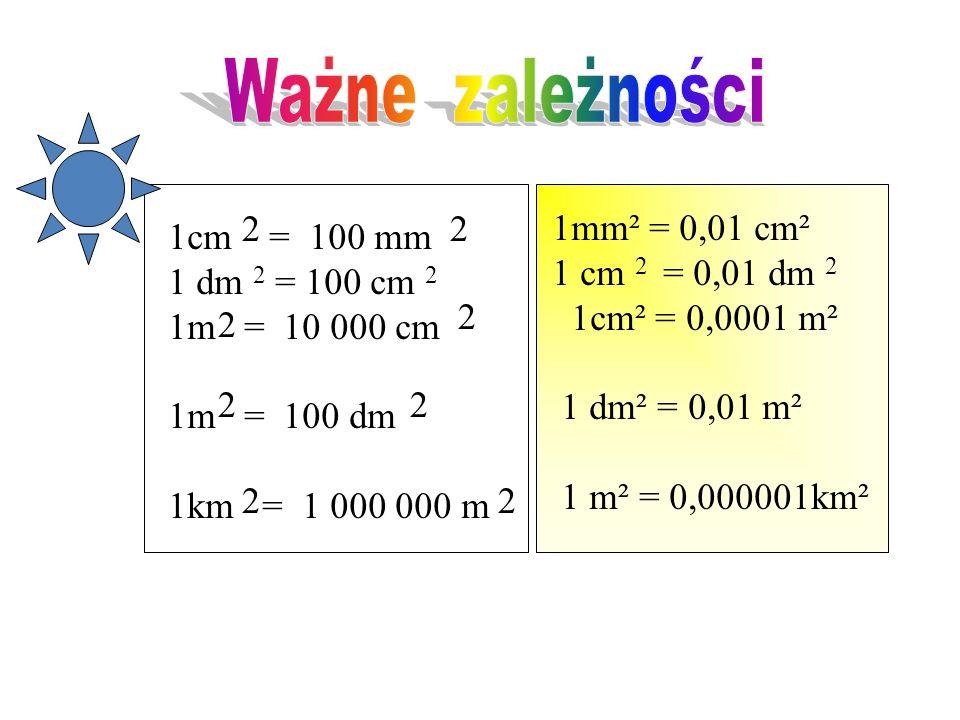 Ważne zależności 2 2 1mm² = 0,01 cm² 1 cm 2 = 0,01 dm 2