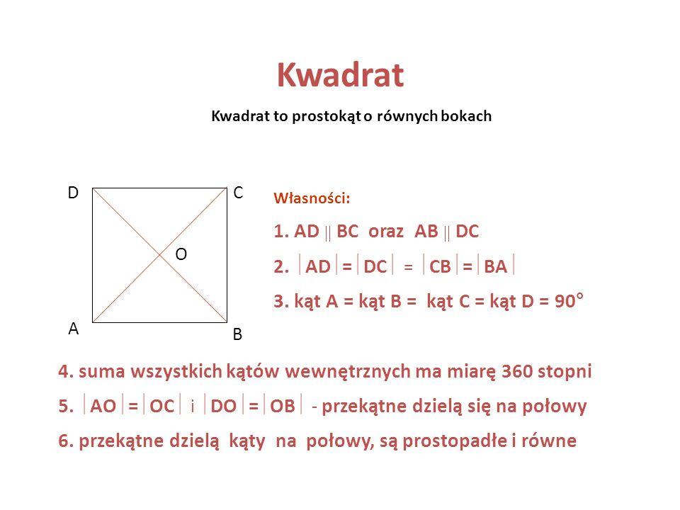 Kwadrat to prostokąt o równych bokach